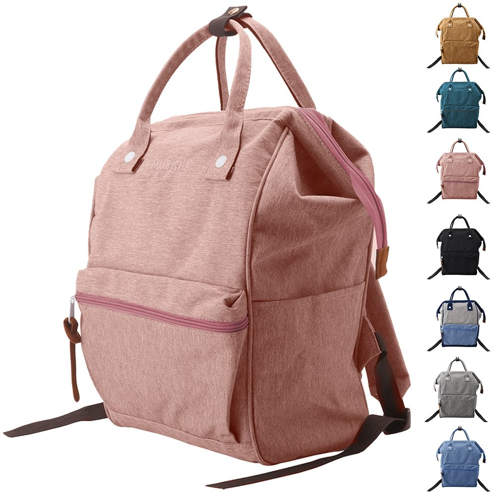 Peicees Wide Open School College Student Backpack Casual Multipurpose Doctor Diaper Backpack Bag Lightweight Travel Bag Laptop Backpack 19L for Women Men Boys and Girls(Pink)