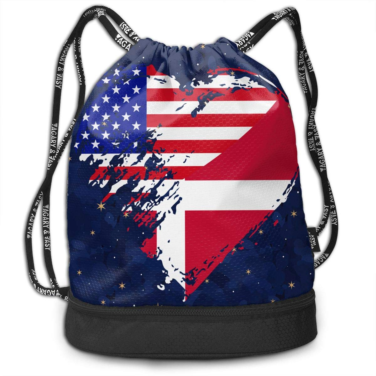 Denmark American Heart Flag Drawstring Bag Multifunctional String Backpack Custom Cinch Backpack Rucksack Gym Bag