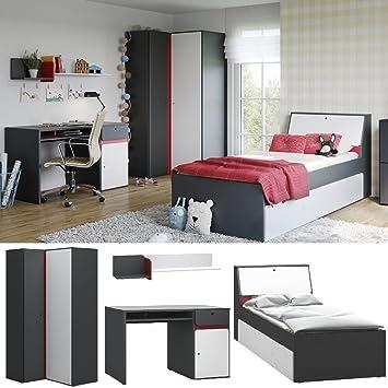 Jugendzimmer Kinderzimmer Komplett Vigo Set B Eckschrank Bett 90x200
