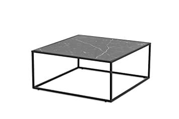 More design table basse mdf métal effet marbre noir brillant