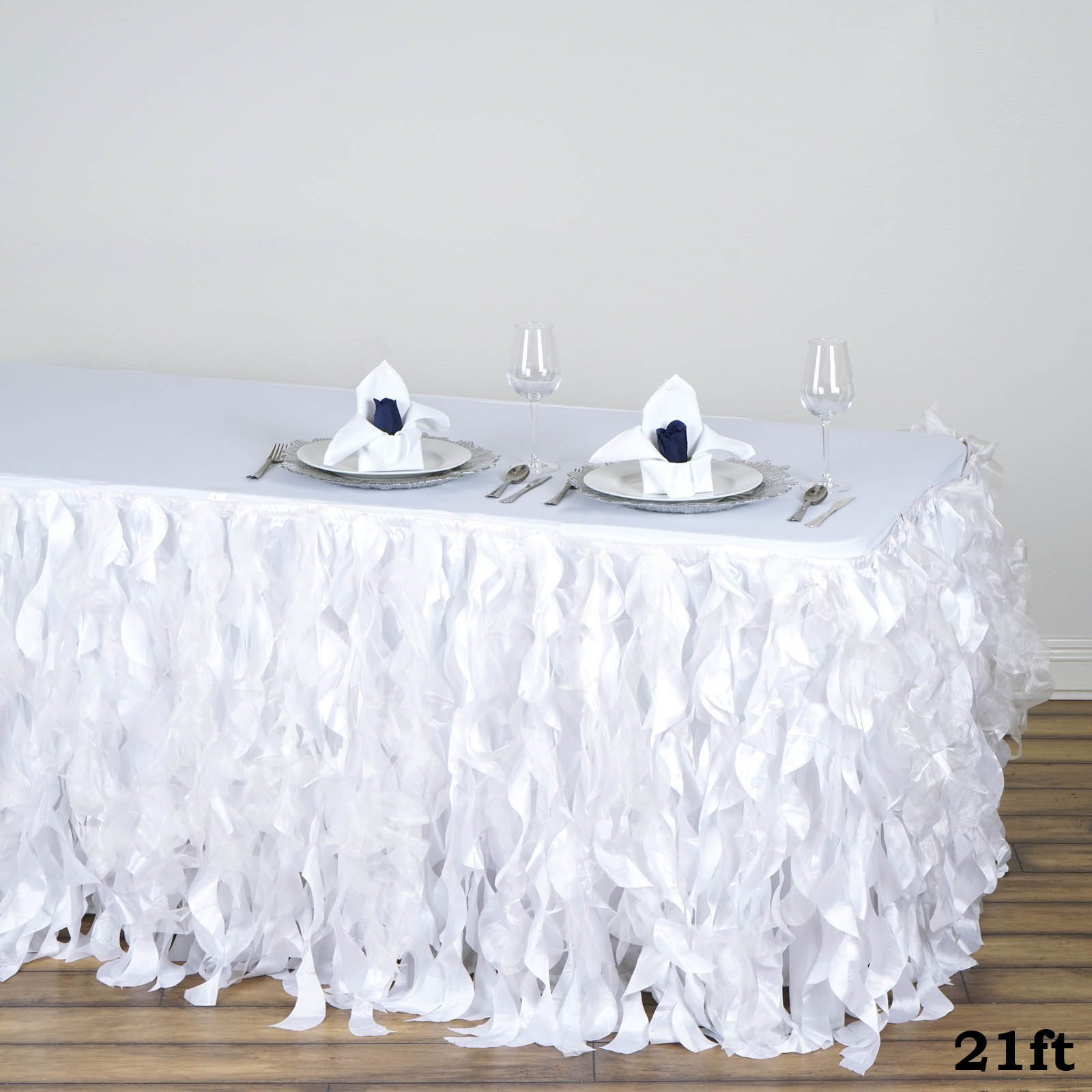 Tableclothsfactory 21ft Enchanting Curly Willow Taffeta Table Skirt - White