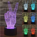 ZLTFashion 3D Visual Optical Illusion Colorful LED Table Lamp Touch Cool Design Night Light Christmas Prank Gifts Romantic Holiday Creative Gadget (Victory hand)
