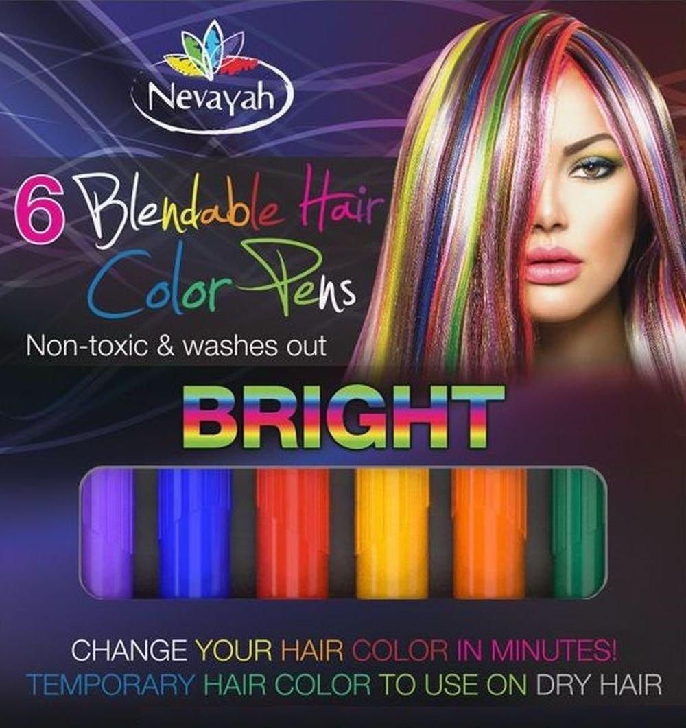 Nevayah Hair Chalk Temporary Hair Multicolor Dye Pens,  Light Purple / Medium Blue / Red / Yellow / Orange / Dark Green (6 Pens)