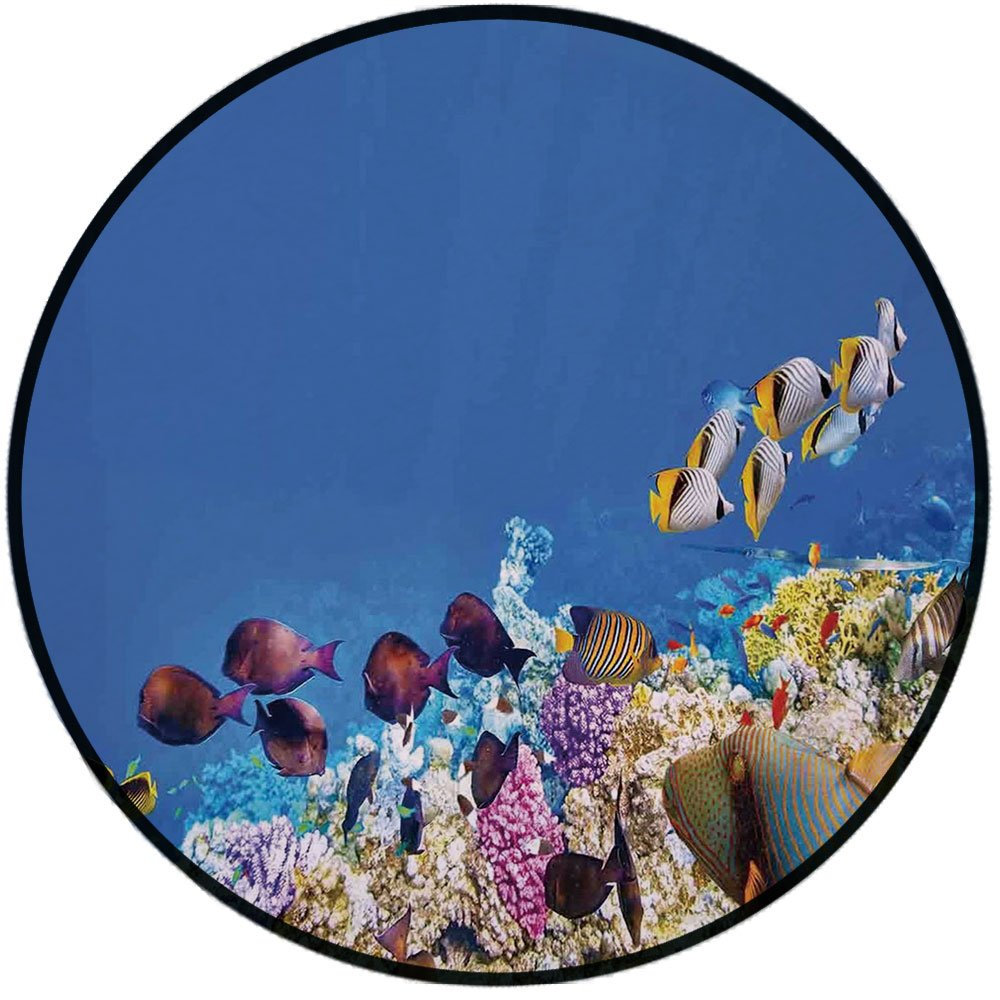 Printing Round Rug,Ocean,Fish Schools Swimming Submerged Ancient Coral Reefs Nature Marine World Mat Non-Slip Soft Entrance Mat Door Floor Rug Area Rug For Chair Living Room,Blue Yellow and Purple