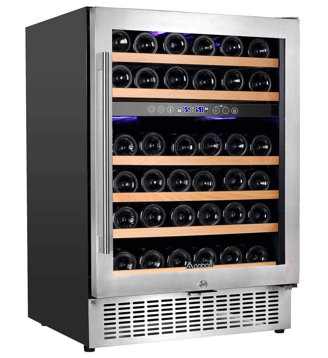 【Upgraded】Aobosi 24'' Dual Zone Wine Cooler 46 Bottle Built in and Freestanding Wine Refrigerator for Reds,Whites,Champagne |Stainless Steel Tempered Glass Door | Quiet Operation | LED display