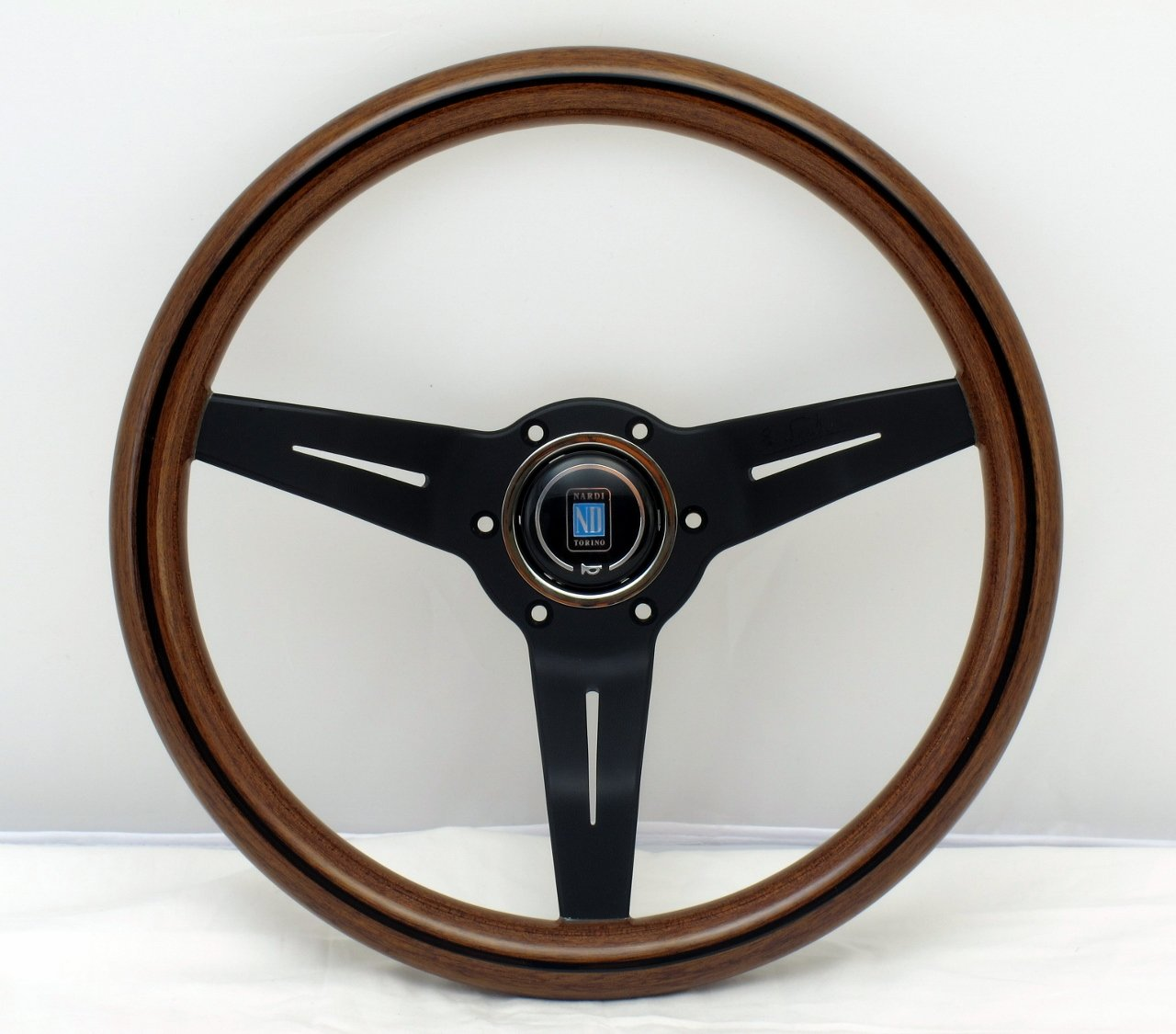 NARDI Steering Wheel Deep Corn 330mm - Mahogany Wood with Black Spokes Classic Horn Button Part # 5069.33.2000 12.99 inches