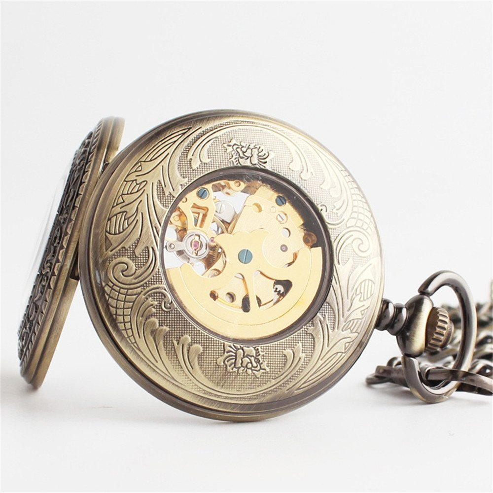 Zxcvlina Classic Smooth Exquisite Bronze Retro Pocket Watch Boutique Carved Unisex Mechanical Pocket Watch with Chain Suitable for Gift Giving by Zxcvlina (Image #5)