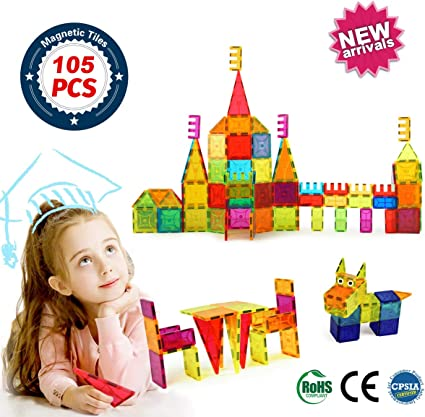 BrightOn Educational Kids Toys Magnetic Building Blocks, Creative Toys 3D Magnetic Blocks for Kids, Imagination Magnets Building Tiles for Children 105Pcs
