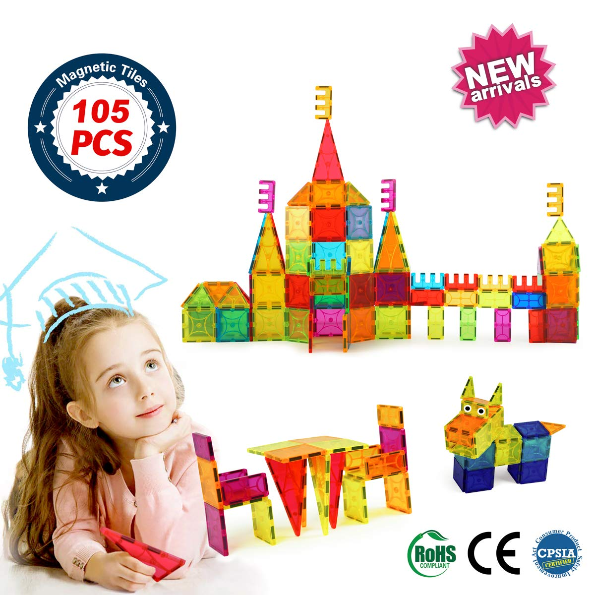 BrightOn Educational Kids Toys Magnetic Building Blocks, Creative Toys 3D Magnetic Blocks for Kids, Imagination Magnets Building Tiles for Children 105Pcs by BrightOn