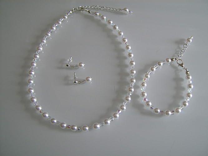 ae98d6ae4a06f Parure perle bijoux Blanc Ivoire Cristal Strass Mariage Mariée Femme ou  Enfant Fille Collier bracelet boucles
