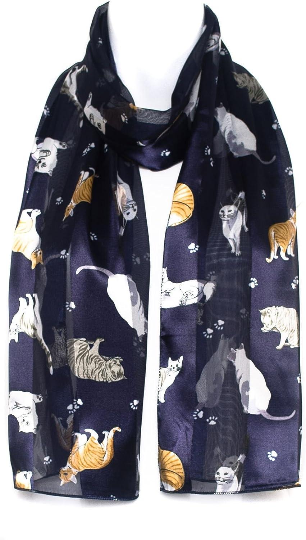 HatToSocks Chiffon Satin Scarf with Cat Paw Kitten Print