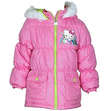 5f415e9cc Hello Kitty Little Girls' Pink Sparkle Hooded Puffy Fleece Lined Winter Coat
