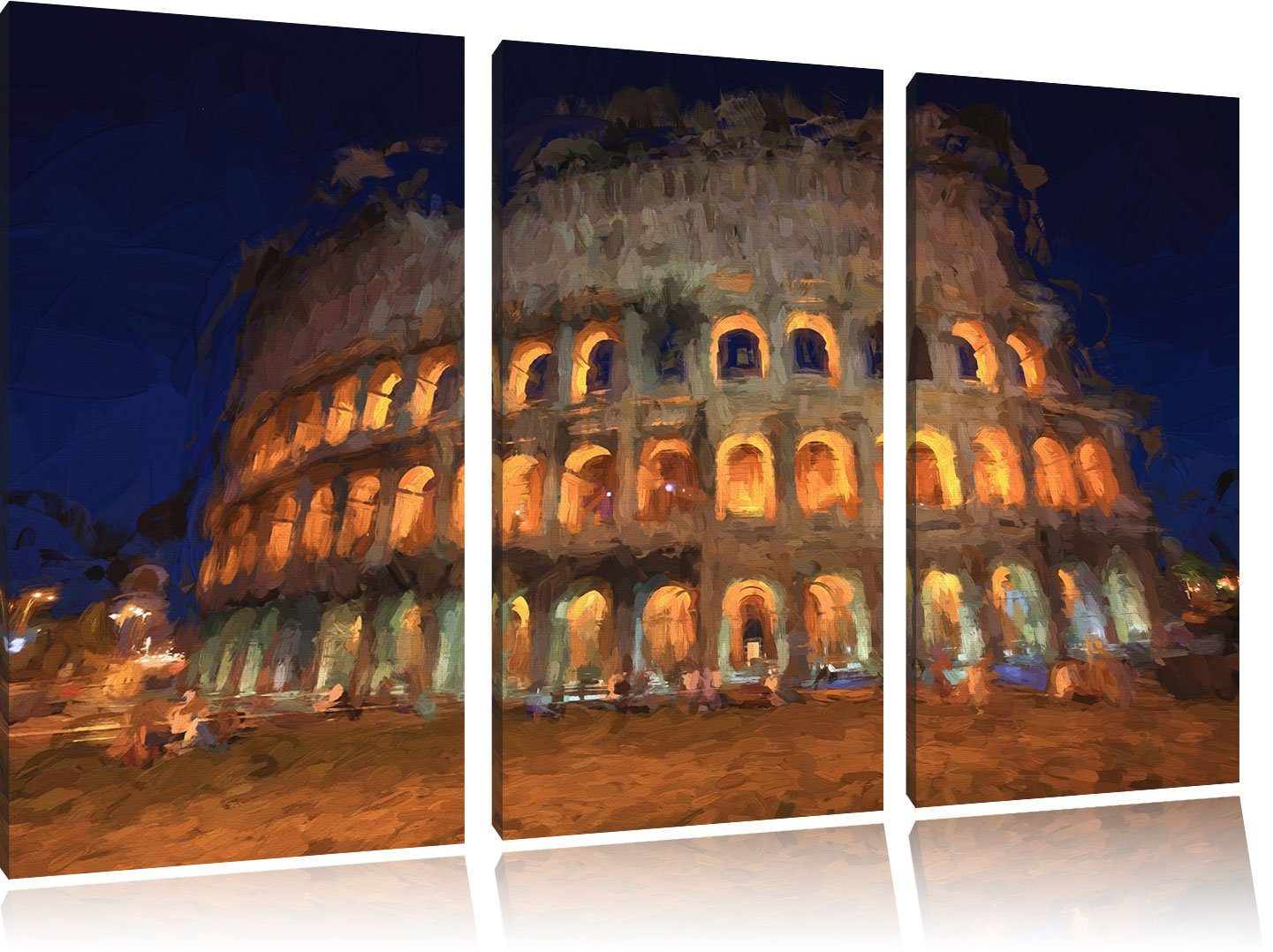 Roma Quadro Stampa su Tela con Telaio Il Colosseo di notte