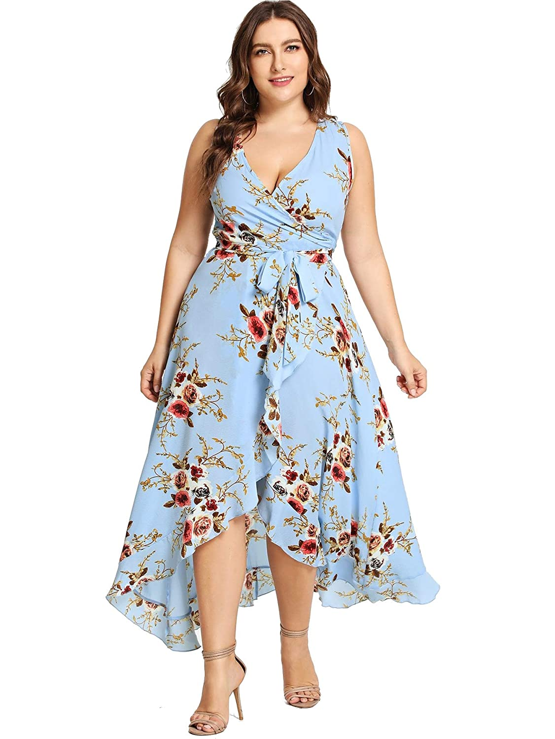 11b6458abe465 Milumia Plus Size Fit and Flare Empire Waist Floral Printed Sleeveless Dress  V Neck Sundress at Amazon Women's Clothing store: