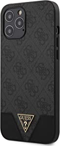 Guess GUHCP12MPU4GHBK 4G Triangle Collection Case for iPhone 12/12 Pro 6.1 Inches Grey