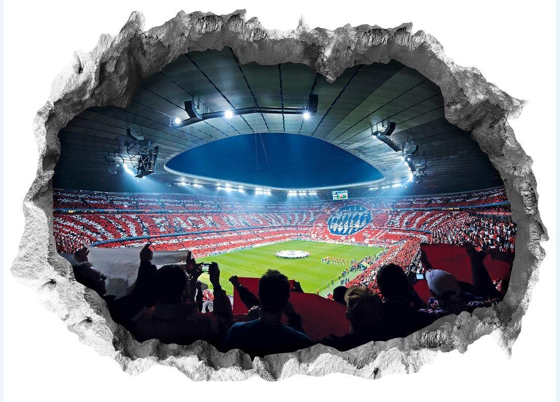 FC Bayern Mü nchen Wandtattoo 3D fü r Tapete | Fanartikel mit Allianz Arena Motiv 3D | Stadion Motivfolie problemlos anzubringen (70 x 100 cm) FC BAYERN MÜNCHEN