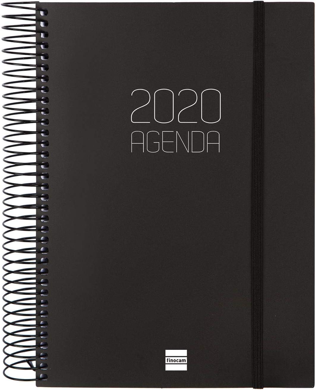 Finocam - Agenda 2020 1 Día Página Espiral Opaque Negro Español, 155X212 mm