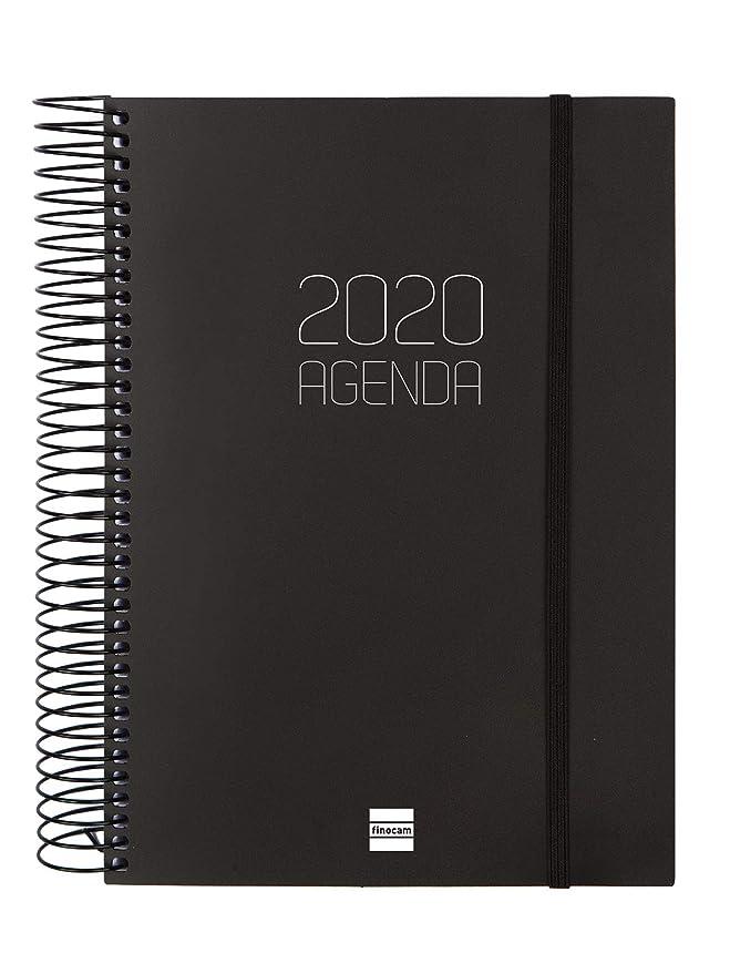 Finocam - Agenda 2020 1 día página Espiral Opaque Negro español ...