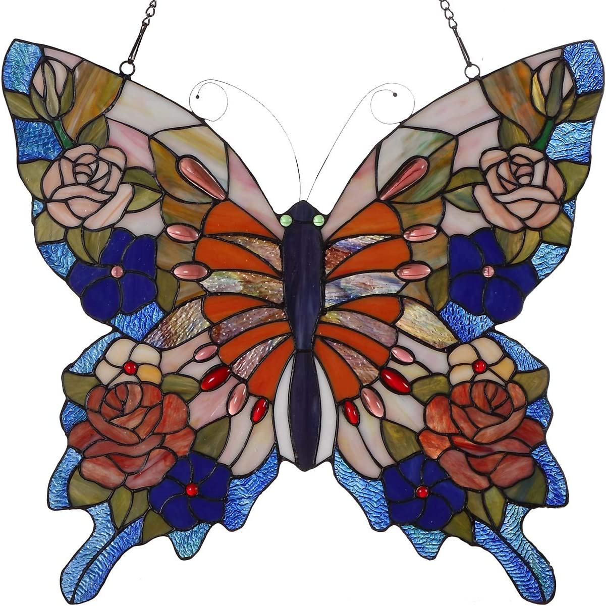 Bieye W10027 Butterfly Tiffany Style Stained Glass Window Panel with Chain, 22 W x 20 H Red