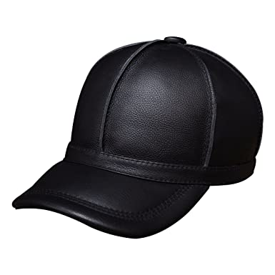 Haisum Men s Leather Baseball Caps Vintage Style Adjustable Genuine Leather  Ball Cap Hat a0dbcedd5f19