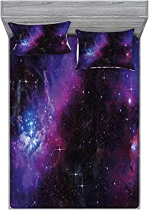 Ambesonne Space Fitted Sheet & Pillow Sham Set, Nebula Dark Galaxy Luminous Stars and Cosmic Rays Astronomy Explore Theme, Decorative Printed 3 Piece Bedding Decor Set, Full, Purple Blue