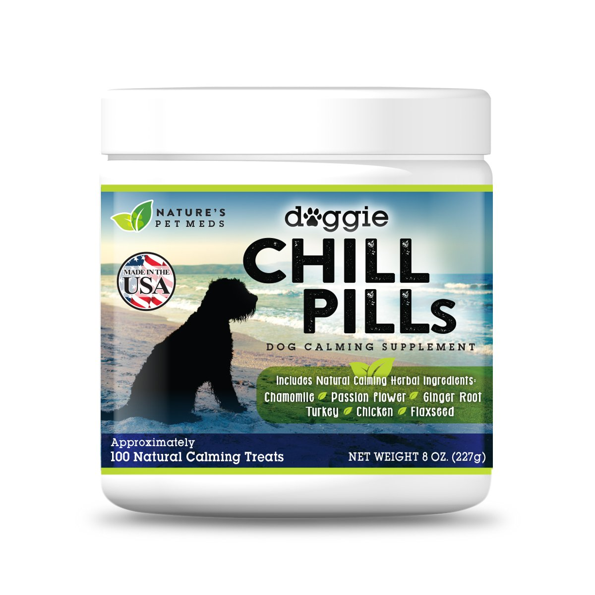 Doggie Chill Pills Calming Aid 100 Chews for Dogs Relieves Stress Separation Anxiety Storms Fireworks Nausea Safe Natural Ingredients Amino Acids Chicken and Turkey Flavored Treats Made in USA