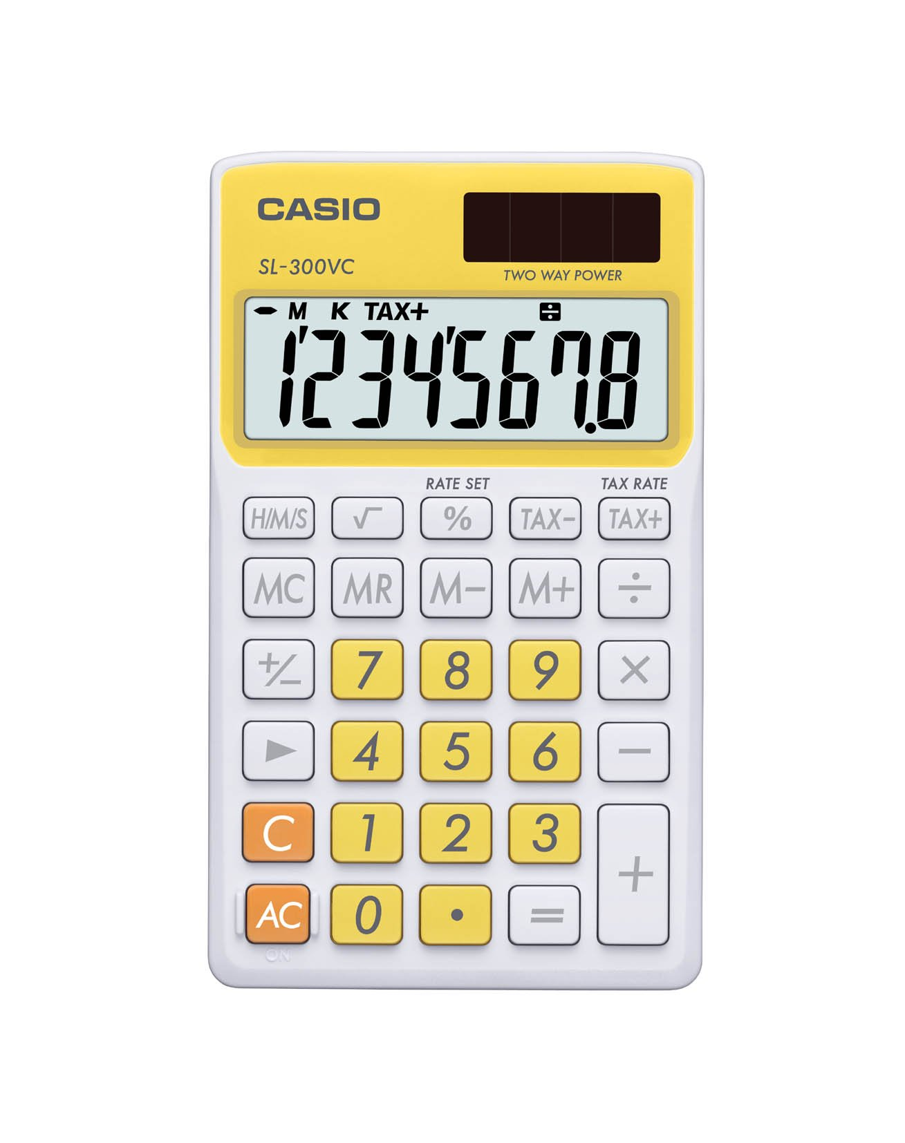Casio SL-300VC Standard Function Calculator, Yellow