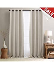 Curtains For Bedroom Linen Textured Room Darkening Drapes 84 Inch Long  Living Room Curtain In Greyish