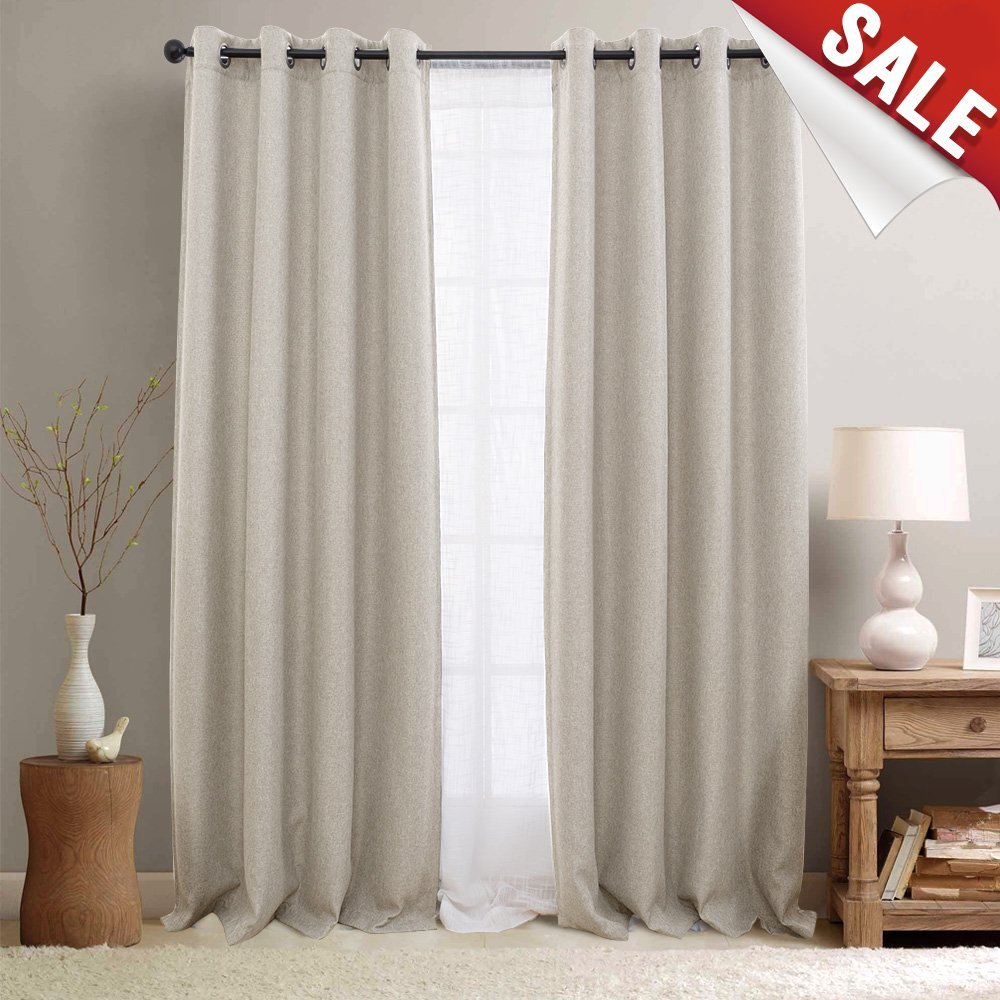 Linen Textured Room Darkening Curtains for Bedroom Drapes 84 inch Long Living Room Curtain in Sandy Beige, One Panel