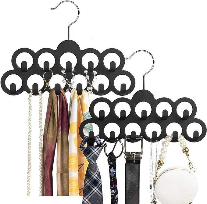 360 Degree Rotating Belt Tie Hanger Scarf Rack Holder W2B1 Hook Closet Fast W1F6