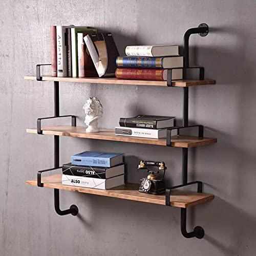 WYZ Reclaimed Wood Industrial DIY Pipe Shelf Shelves Steampunk Rustic Urban Bookcase 3 Tier Book shelev