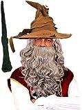 Accessoires pour un déguisement sorcier du fameux film - Y Compris: Chapeau Sorcier Marron, Perruque et Barbe Gris et Baguette Magique - Idéal pour toutes fêtes entre amis et famille