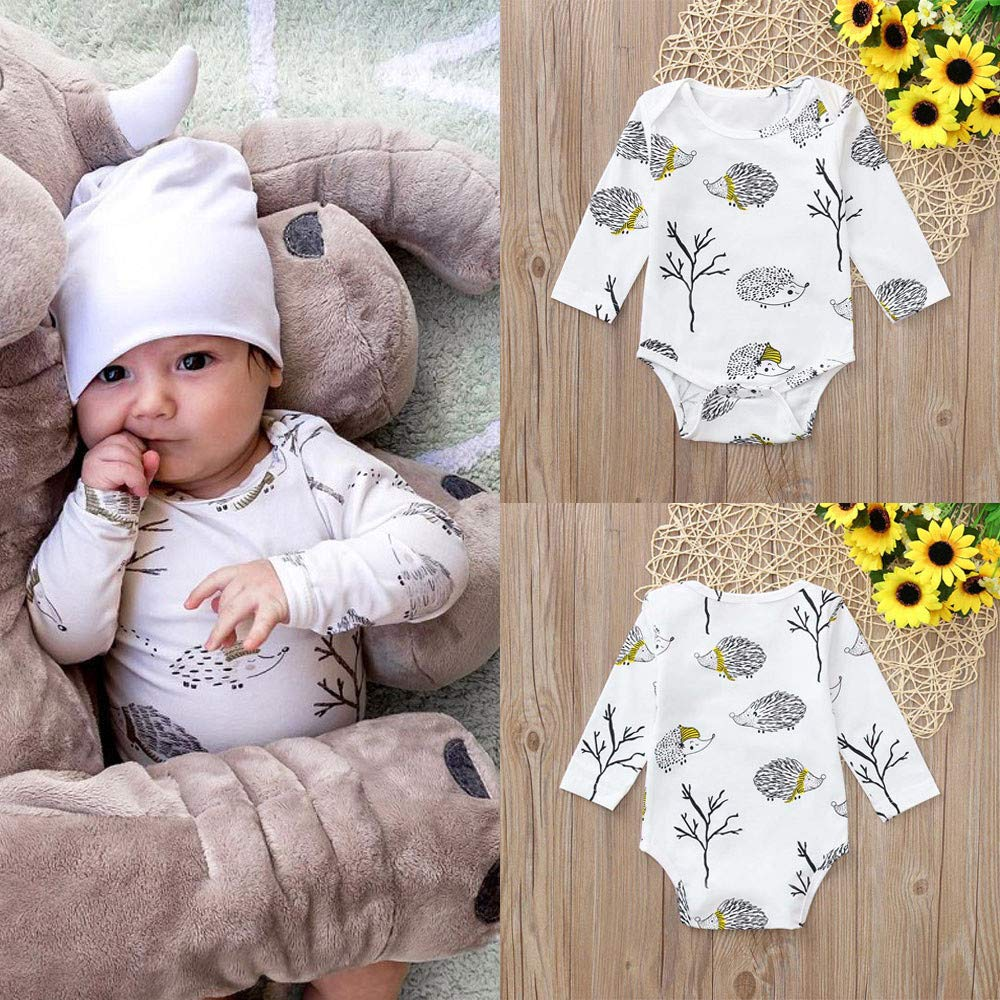AMSKY Baby Clothes Boy Newborn,Newborn Infant Baby Girl Boy Long Sleeve Cartoon Romper Jumpsuit Clothes Outfits,Baby Girls' Costumes,White,70 by AMSKY (Image #2)