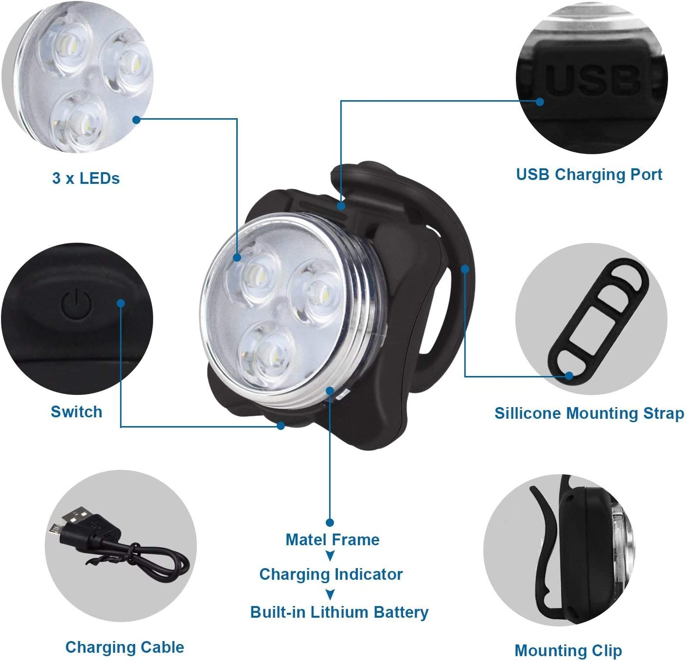 Superhell Scheinwerfer Wasserdicht LED Mit USB-Kabel Langlebig Praktisch