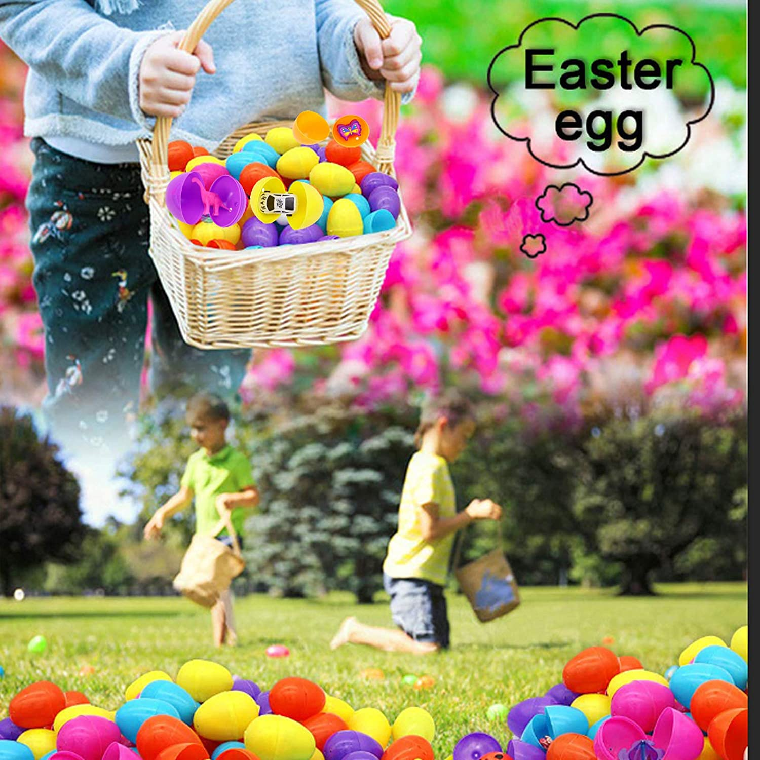 Each Perfect for Easter Egg Hunt Theme Party Favor Suitable for Kids Learning Educational Toys for Boys and Girls Easter Eggs Filled with 60 Pieces 2 3//8 Different Kinds of Surprise Plastic Eggs with Toys Inside