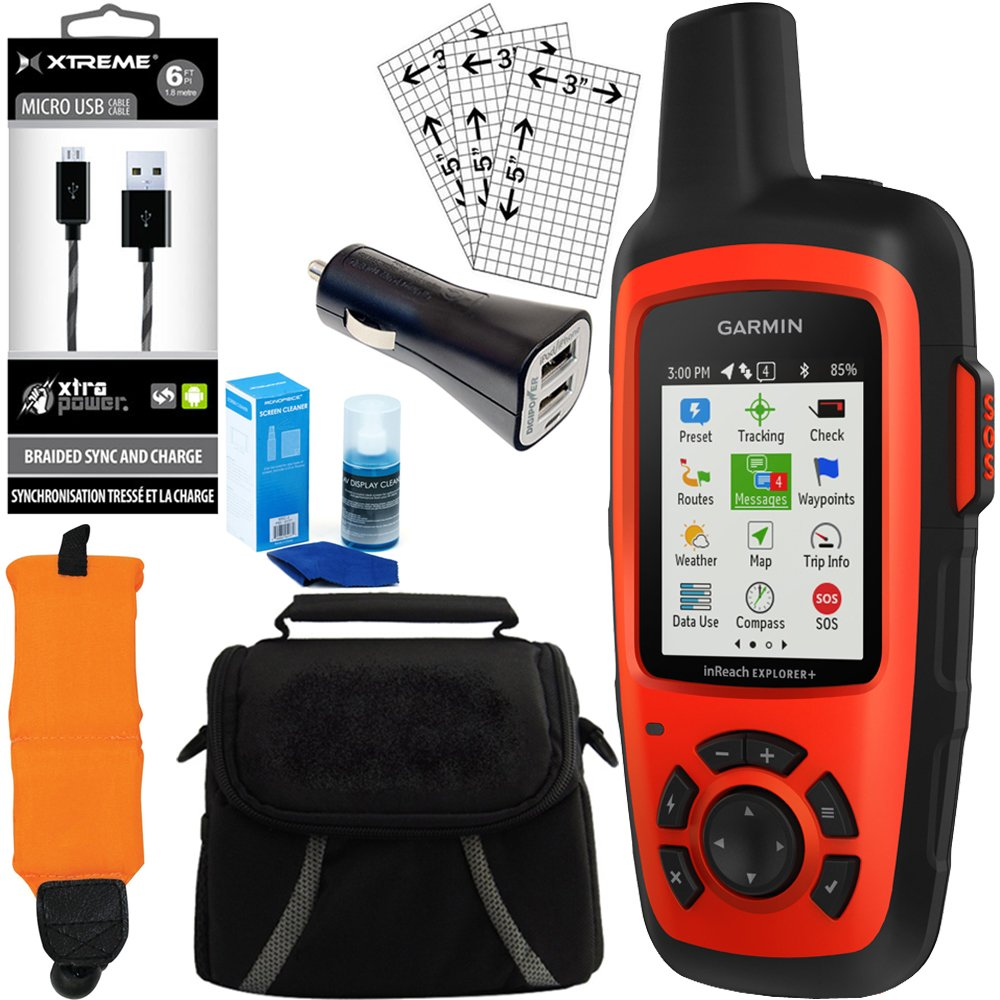 ArtMuseKitsMikash Garmin inReach Explorer GPS Bundle w Car Charger, Micro USB, Gadget Bag and More