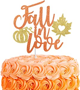Fall in Love Cake Topper,Fall Wedding,Bridal Shower,Engagement Cake Decor,Glitter Autumn Wedding Party Decorations