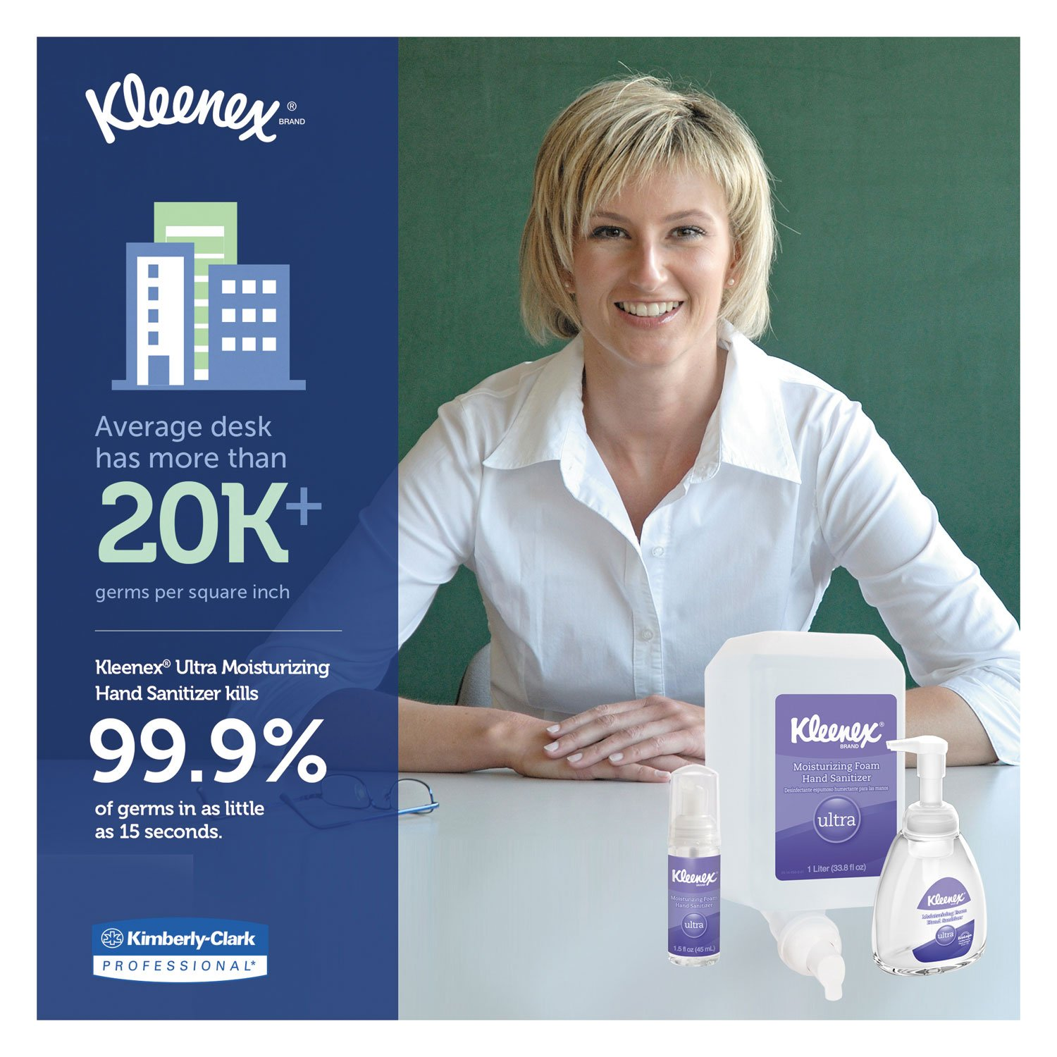 Kleenex 34700 Ultra Moisturizing Foam Hand Sanitizer, 1,000 ml, Clear (Case of 6) by Kleenex