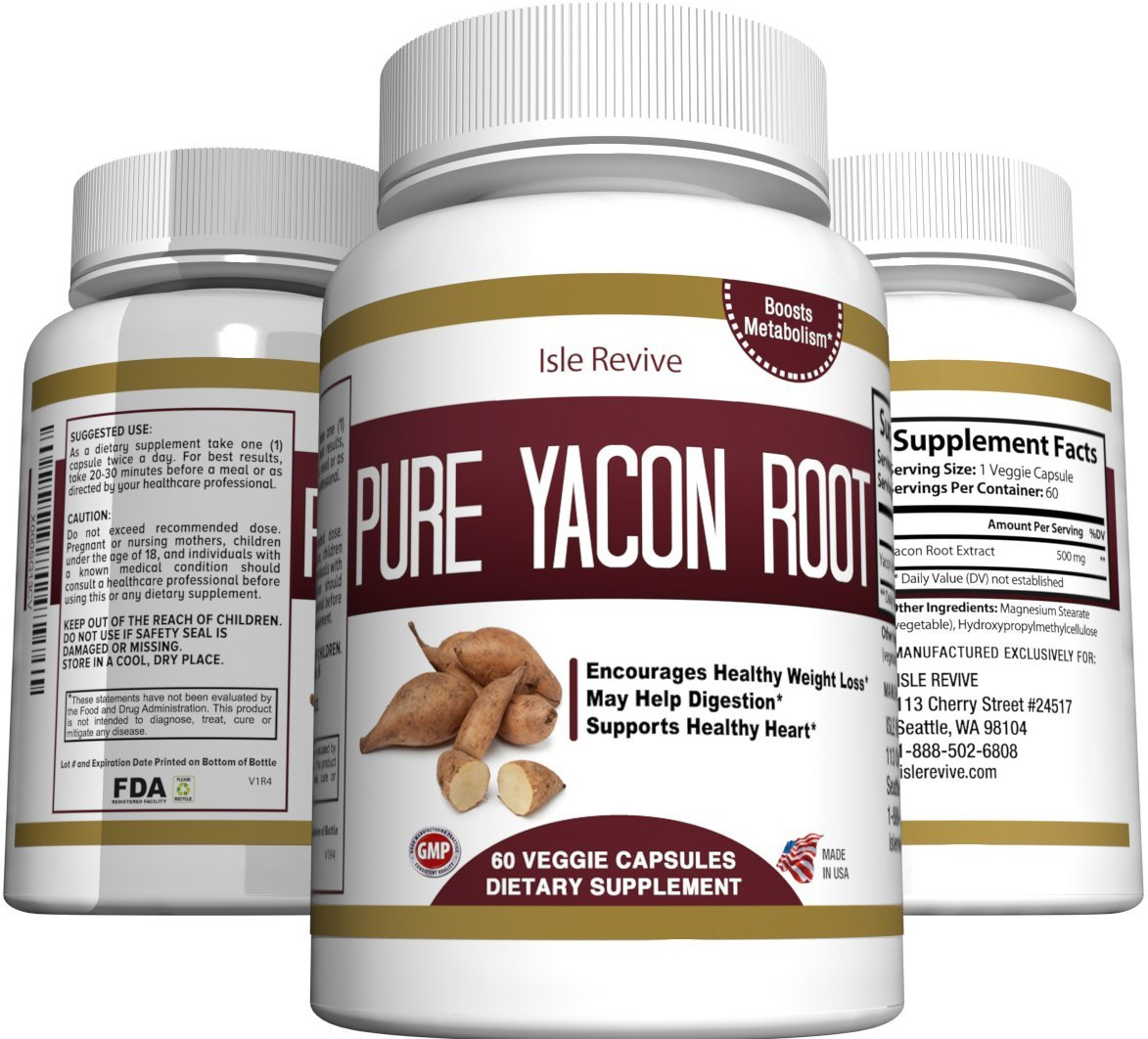 Pure Yacon Root Powder Extract Capsules - All Natural Prebiotic Supplement Detox and Cleanse, Weight Loss, Digestion, Boosts Metabolism, and Suppresses Appetite - 60 Caps - 30 Day Supply - Made in USA