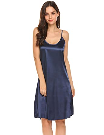 8c5dd5415f5a Goodfans Women's Sexy V Neck Spaghetti Strap Silk Slip Dress at Amazon  Women's Clothing store: