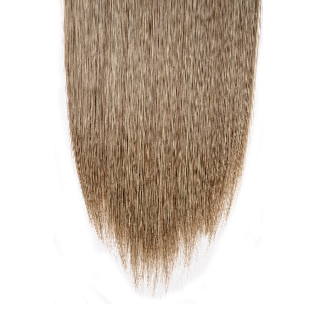 Clip in Hair Extensions Synthetic Full Head Charming Hairpieces Thick Long Straight 8pcs 18clips for Women Girls Lady (23 inches-straight, ash brown mix bleach blonde) by Beauti-gant (Image #5)