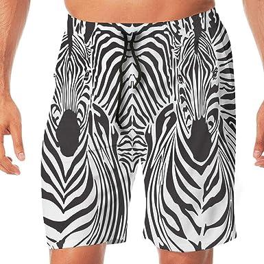8bc6d1dd4e HAIXIA Men Fashion Swimming Trunks with Pocket Zebra Print Illustration  Pattern Zebras Skins Background Blended Over