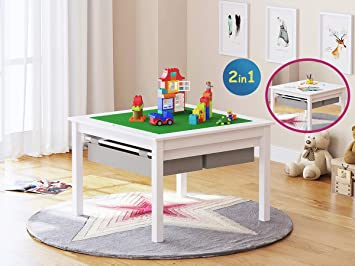 UTEX 2 In 1 Kids Construction Play Lego Table With Storage Drawers And Built  In Plate