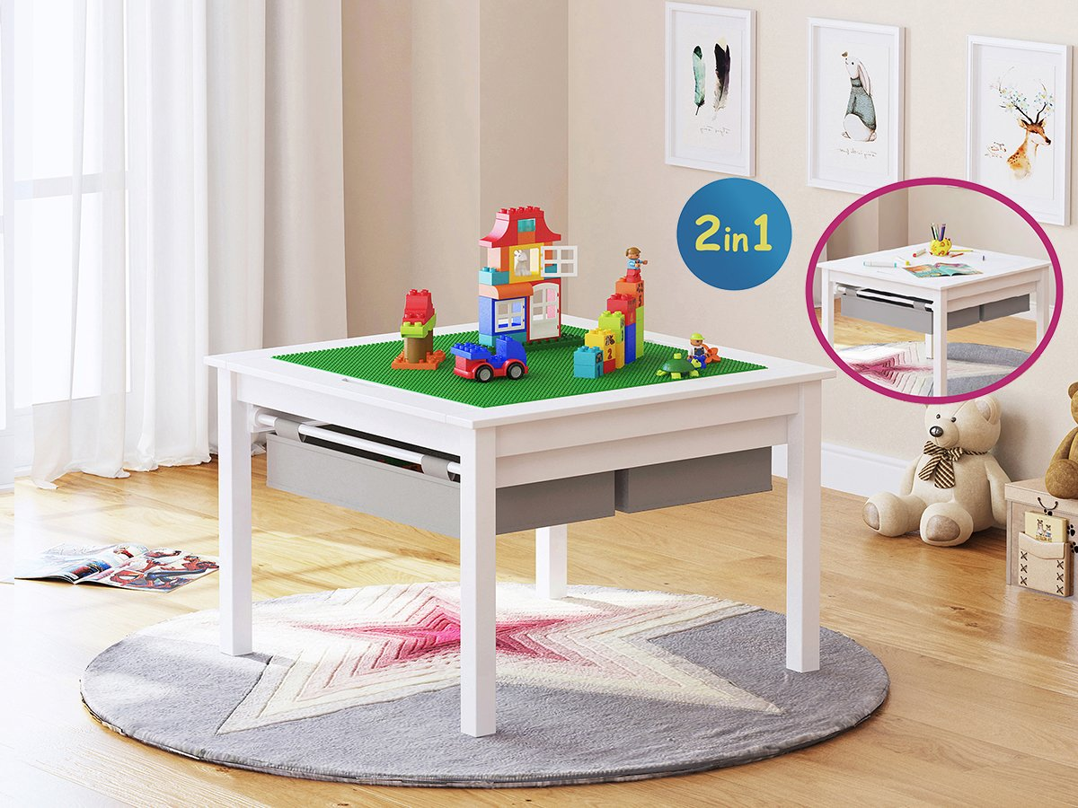 Utex 2 In 1 Kids Construction Play Table with Storage Drawers and Built In Plate, White