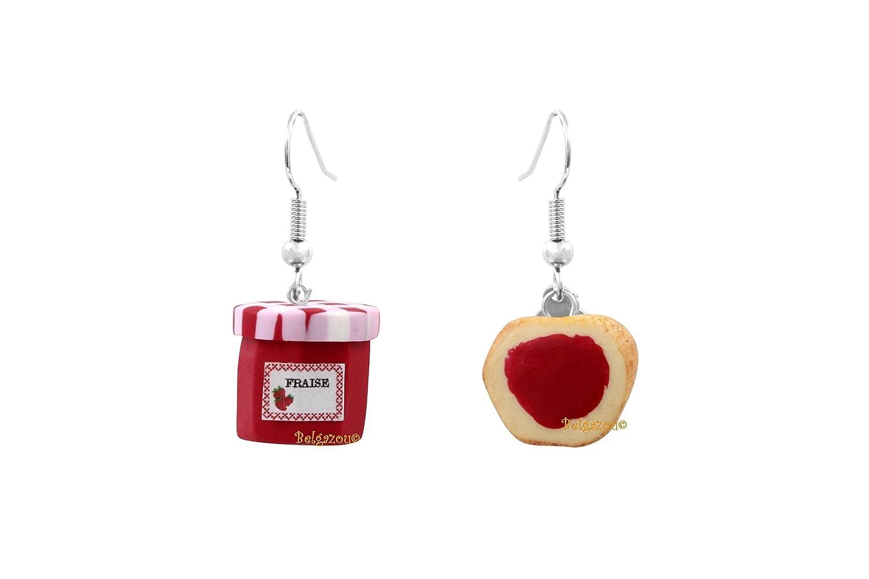 Lady-Charms - Handgefertigt in Frankreich - Schlemmerische Ohrringe Marmeladentopf in der Erdbeere und ihrer Brotschnitte