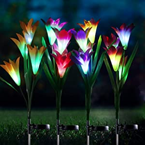 Beinhome 4 Pack Solar Garden Lights Outdoor Solar Powered Lights with 16 Lily Flowers Multi-Color Changing LED Solar Stake Lights for Garden Patio Yard Decoration (White, Purple, Red, Yellow)