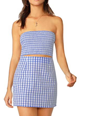 26ee2a3cb3 Floerns Women's Strapless Bandeau Tube Tops Skirt Two Pieces Outfit Blue XS