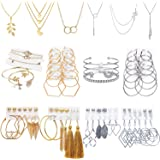 51 PCS Gold Silver Jewelry Set with 6 PCS Necklace,9 PCS Bracelet,36 PCS Layered Ball Dangle Hoop Stud Earrings for…