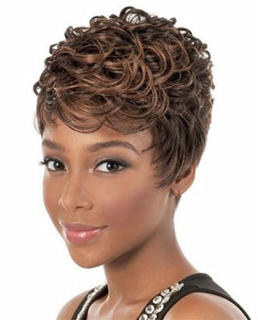 Cóctel de cobre mujeres rubias pelucas cortas sintéticas del pelo del partido de Cosplay de las