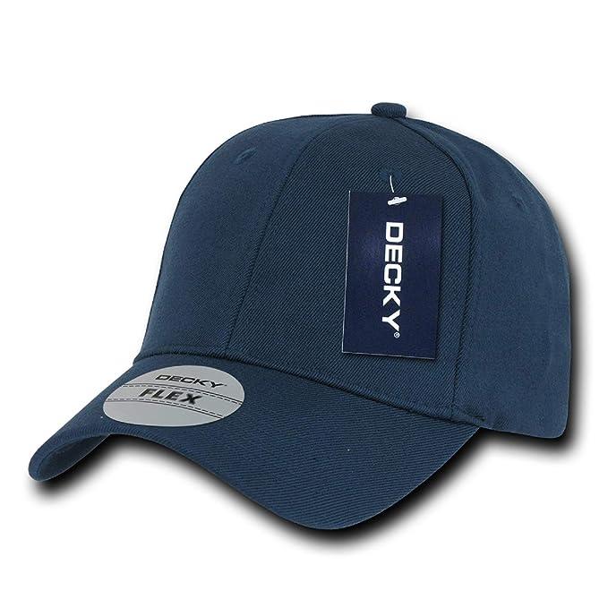 3206b5ccb9c Navy Blue Plain Solid Blank Flex Baseball Fit Fitted Ball Cap Hat ...